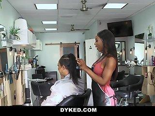 Dyked - Straight Teen Girl Seduces By Hot Ebony Stylist
